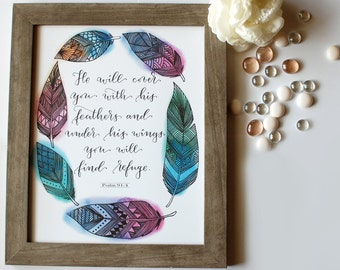 Calligraphy Print, Hand lettered Print, Psalm 91:4--Print