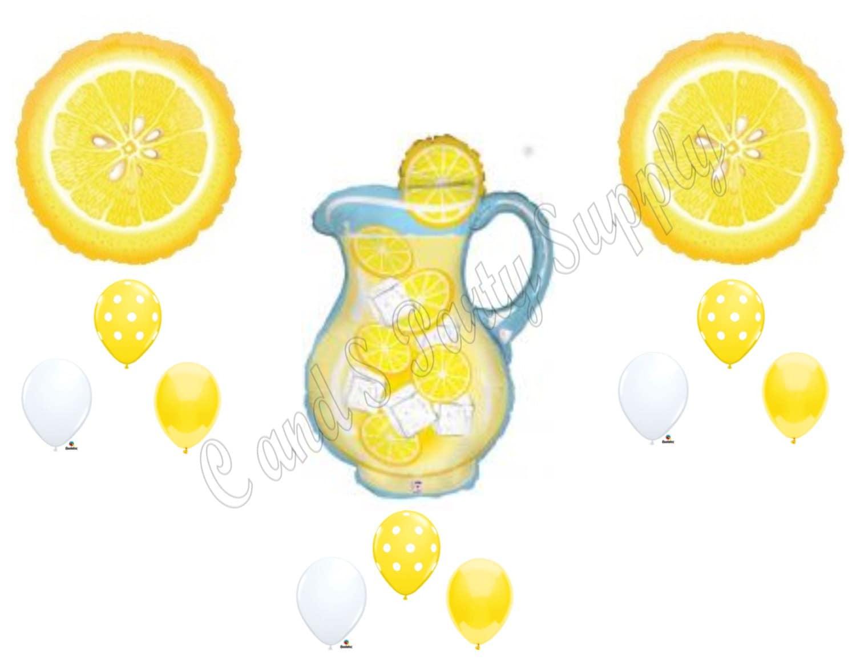 Lemonade stand lemon birthday balloons decoration supplies for Lemon shaped lemonade stand