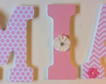 pink and white nursery letters, baby letters, decorative letters, hanging letters, MIA, chevron, wood letters, wall letters, girls room