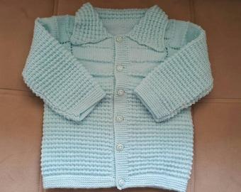 Blue Knitting needle baby girl/boy set. Handmade baby vest, knitting baby pants, knitting baby sweater.