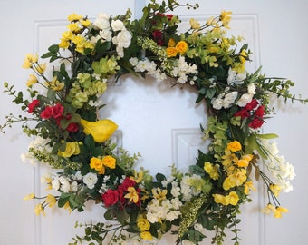 Summer Wreath, Spring Wreath, Wildflower Wreath, Roses Wreath, Yellow Shabby Chic Bird Door Wreath