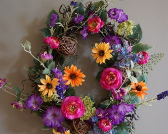 Spring Summer Wreath, XL Large Wreath, Purple Pink Yellow WildFlowers Wreath, ready to Ship