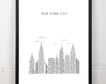 New York City Printable Wall Art Illustration Typography Graphic Design Ready for Print Poster Travel Big Apple Home Decor, Instant Download