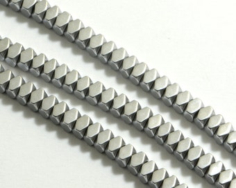 """Hematite Diamond Beads in 3mm x 2mm, Silver Tone, 16"""" Inch Strand, Non-Magnetic. Great Gemstone Bead Supplies #SD-S7583"""