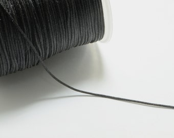 100m (328ft) (109 yards) 1mm Nylon Cords in Black, Chinese Knotting Cord, Spooled, Beading String for Beads #SD-S6977