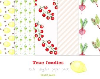 Watercolor Digital Food Paper Pack