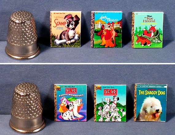 Disney Dogs -  6 Little Golden Books  - Dollhouse Miniature - 1:12 scale - dollhouse nursery toy books  Lady, Tramp, Dalmatuons, Shaggy Dog