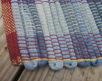 denim handwoven rag rug made from recycled jeans