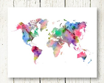 world map watercolor printable watercolor world map instant download, word map art, world map wall art, world map wall decor, world map jpg