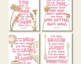 motivational girls room quote art print set pink and gold glitter inspirational dr seuss wall art set decor digital instant download jpg