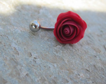 Red rose belly ring, polymer clay belly ring, titanium belly ring