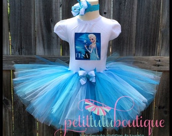 Frozen Elsa Birthday Tutu set any size available 12m to 8y FREE Headband
