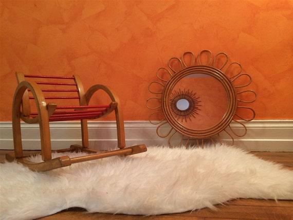 Miroir fleur rotin vintage fifty ann es 50 60 sun mirror for Miroir annees 50