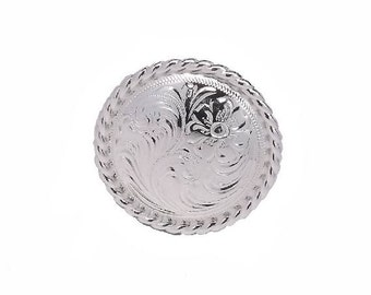 "Rose Flower Silver Rope Edge Screwback Concho 1"" (2.5 cm) 1785-S Stecksstore"