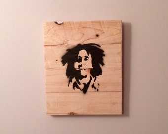 Bob Marley Wooden Wall Hanging Art Graffiti