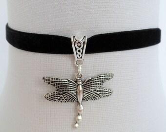 dragonfly choker, black velvet choker, dragon fly necklace