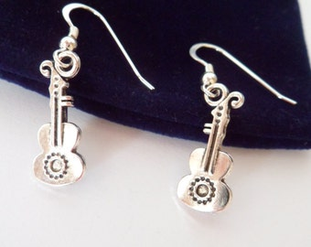 guitar earrings, sterling silver ear wires, silver tone earrings