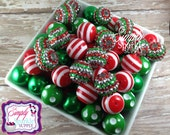 Christmas Red & Green Bulk lot 100 chunky bead mix solids dots and rhinestones 20 mm wholesale chunky beads