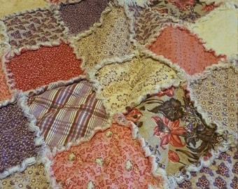 Vintage Inspired Edith by Windham Fabrics, Pinks, Purples, Reds, Browns  – Lap Rag Quilt / Picnic Rag Quilt