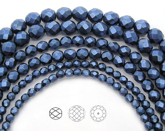 Czech Glass Fire Polished Beads in Blue Carmen Metallic Pearl, Faceted Pearls in sizes 4mm, 6mm, 8mm and 10mm