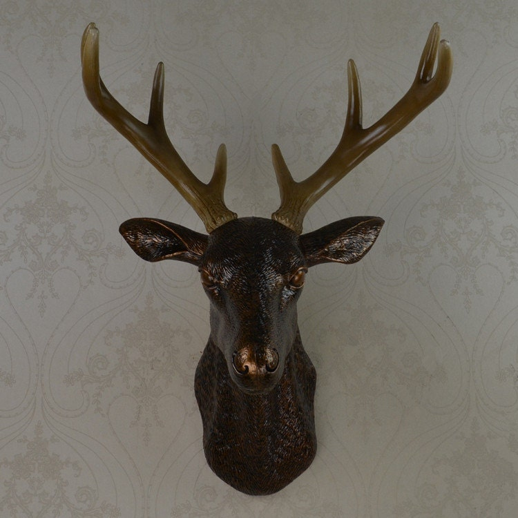 Wall Decoration Deer Head : Antique bronze faux deer head wall decor by