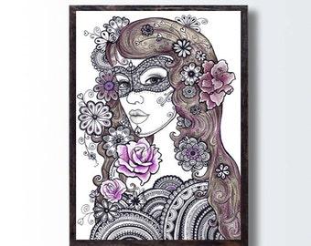 Zentangle Floral Art, Girl Pencil Drawing, INSTANT Download, Living Room Wall Decor, Flowers Mandala Drawing, Boho Wall Decor, Tattoo Design