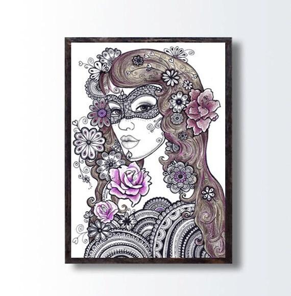 Zentangle Blumenkunst Girl Bleistift von DHANAdesign auf Etsy