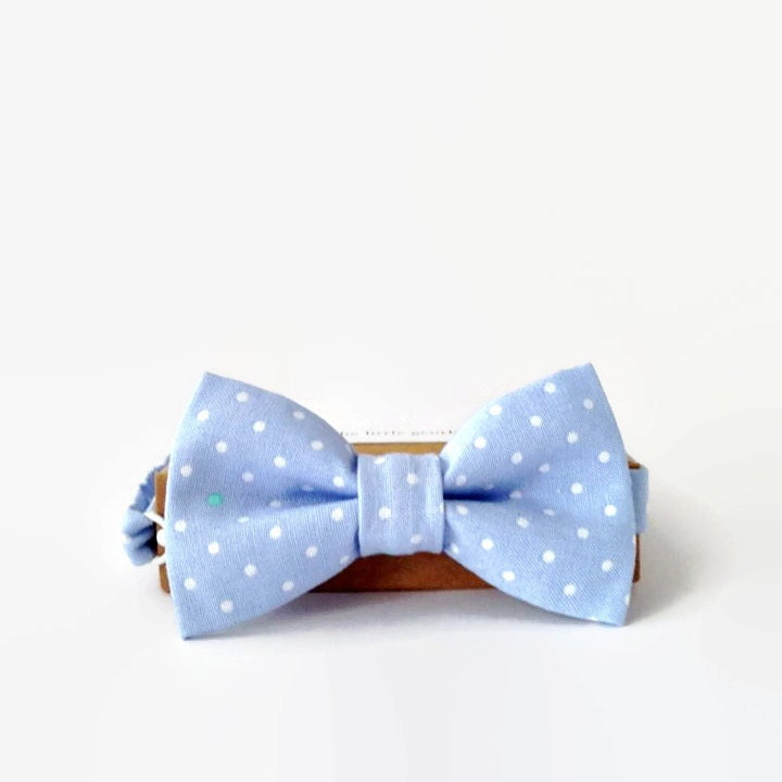boys bow tie bow ties beau pale blue spot by