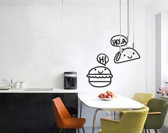 Wall Decal Junk Food Junkie Burger and Taco- Vinyl Door Decal- Home Decor- Wall Art