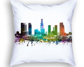 Los Angeles Pillow, 18x18, Los Angeles Cushion, Los Angeles Cityscape Throw Pillow, Cushion, Home Decor, Gift Idea, Pillow Case 01