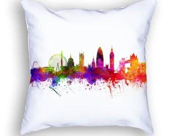London England Pillow, 18x18, London Cushion, London Skyline, Throw Pillow, Cushion, Home Decor, Gift Idea, Pillow Case 02