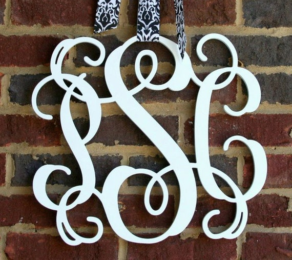 Large 24 inch unpainted 3 letter wooden monogram 24 for 3 inch wooden letters