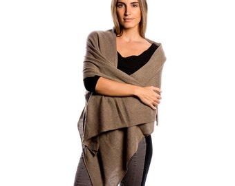 Taupe 100% Cashmere Wrap