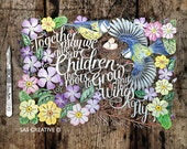"""Papercut Template PDF """"Together May We Give our Children the roots to Grow' Inspirational New Baby Design by Samantha's Papercuts"""