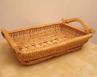 Braided Wicker Tray || Rectangle Shape || An Old Woven Wicker Tray with wooden handle || handmade