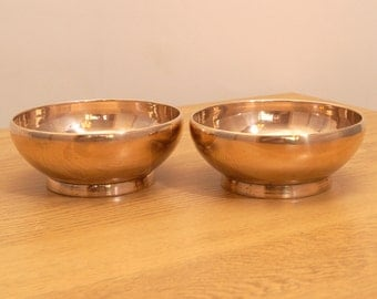Very heavy two solid brass  bowls / dishes || simple design