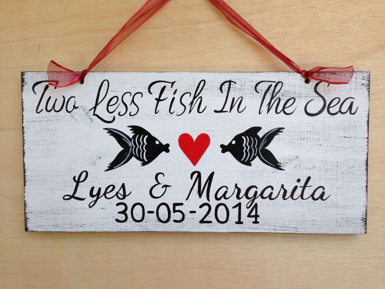 Two less fish in the sea wedding name sign beach wedding for Www plenty of fish sign in