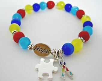 Autism Awareness Bracelet, Autism Awareness, Autism Jewelry, Autism Support, Autism Beaded Bracelet, Autism Charms
