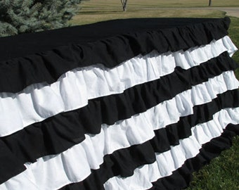 Striped Ruffled 6 Foot Tablecloth Tailgate Or Sports Table Decor, Nautical  Black And White