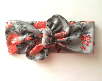 Top Knot Headband-Gray and Coral Floral