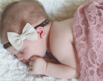 Fabric Bow Headband- Cream Lace