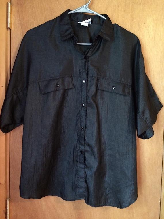 men 39 s women 39 s polyester button up black shirt size