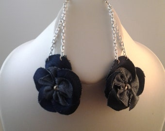 Blue jean and crystal jewelry set