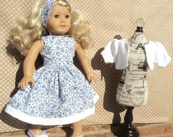 "Blue White Floral Doll Dress - Floral Doll Dress - Floral 18"" Doll Dress - Doll Dress - 18 inch Doll Dress"
