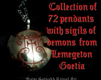 Collection set of 72 pendants with sigils of demons from Lemegeton - Goetia, King Solomon Seals, ritual necklace, occult jewelry, magick