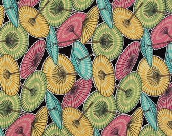 Michael Miller OOP Fabric  -  China Doll Umbrellas C630 in Black  -  One Yard