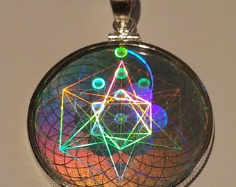 EMF Protection Sacred Geometry Hologram Pendant - Sterling Silver