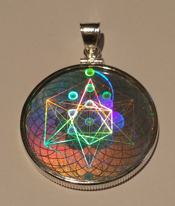 Emf protection sacred geometry hologram pendant sterling like this item mozeypictures Image collections