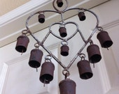 "Heart Shaped Metal Rustic 12 Bell Wind Chime Windbell Windchime 18"" Long"