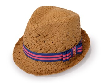 Fedora hat for women , decorated with a cotton stripe ribbon and a bow, with a golden anchor , Nautical Hat Fedora.